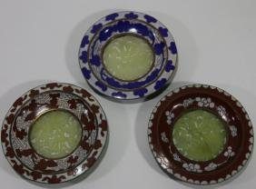CHINESE CARVED JADE & CLOISONNE DISH GROUPING