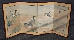 JAPANESE ANTIQUE HAND PAINTED TABLE SCREEN