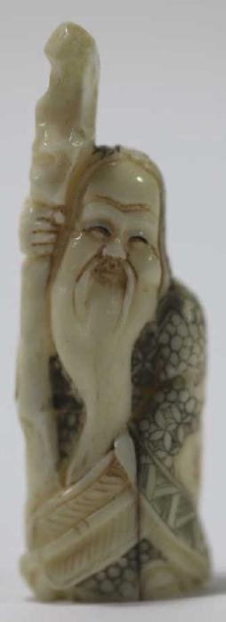 CHINESE ANTIQUE SIGNED & HAND CARVED IMMORTAL