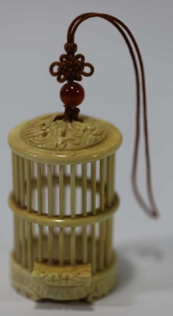 CHINESE HAND CARVED MINIATURE CRICKET CAGE - 2