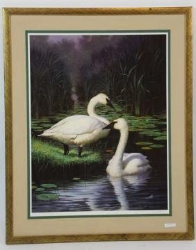 JIM LAMB LITHOGRAPH, GEESE, PENCIL SIGNED