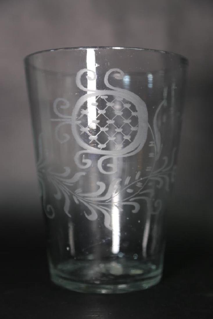 STEIGEL TYPE GLASS ENGRAVED VASE - 2