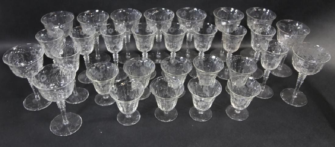 ETCHED CRYSTAL STEMWARE GROUPING (3 SIZES) - 10