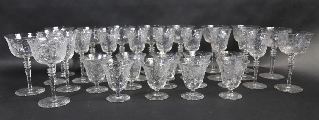 ETCHED CRYSTAL STEMWARE GROUPING (3 SIZES)