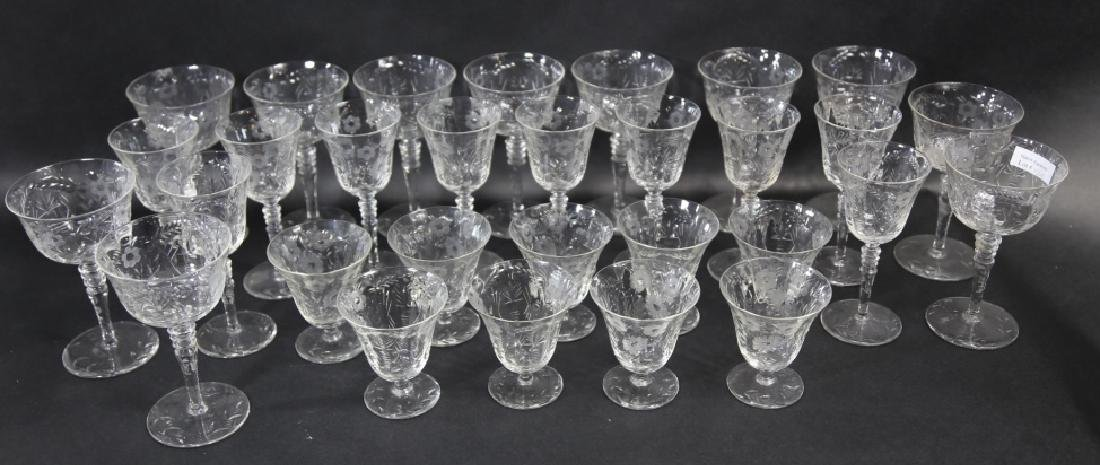 ETCHED CRYSTAL STEMWARE GROUPING (3 SIZES) - 2