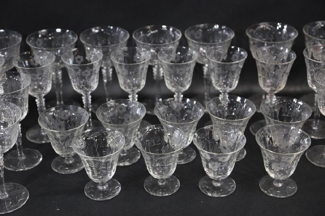 ETCHED CRYSTAL STEMWARE GROUPING (3 SIZES) - 3