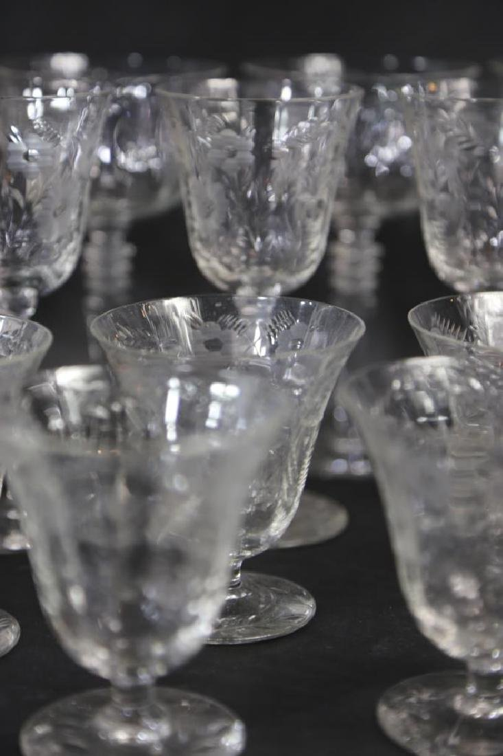 ETCHED CRYSTAL STEMWARE GROUPING (3 SIZES) - 9