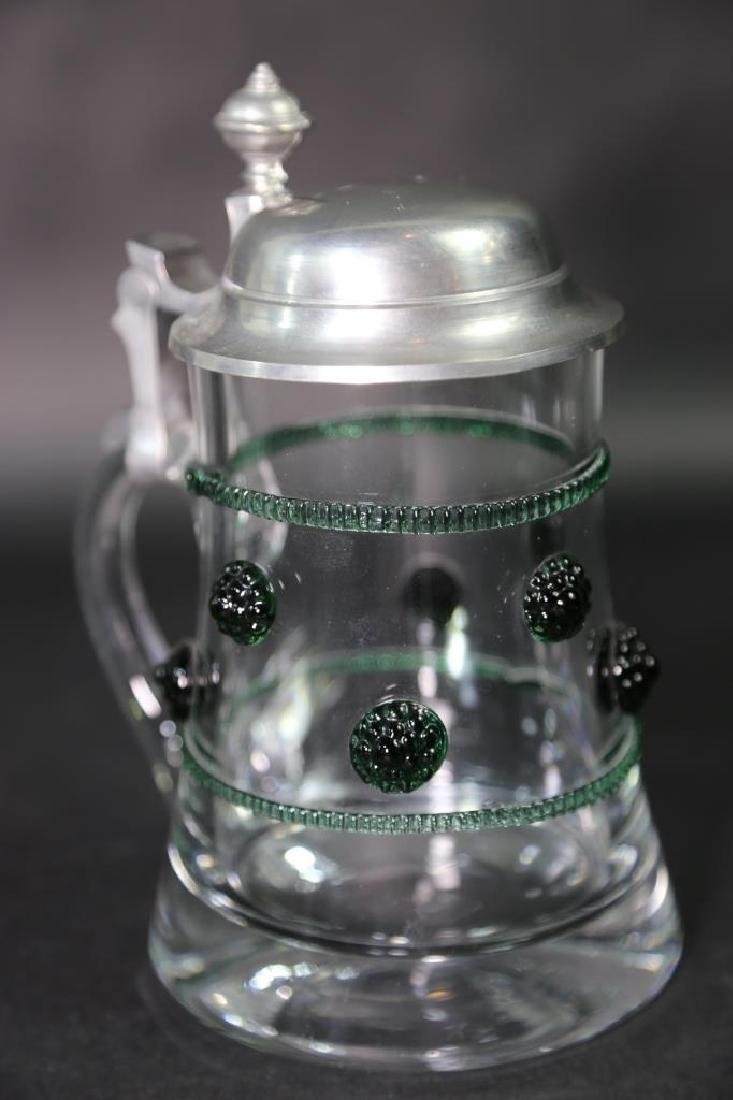 GERMAN CRYSTAL STEIN AND CABLE, PEWTER LID - 4