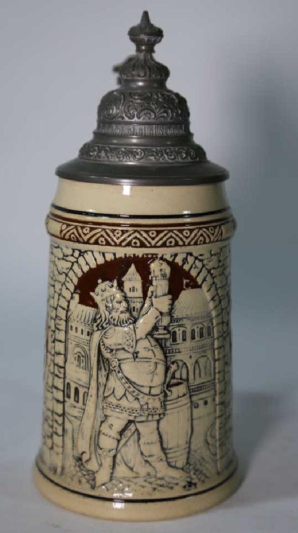 GERMAN POTTERY STEIN WITH RELIEF