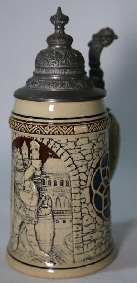 GERMAN POTTERY STEIN WITH RELIEF - 4