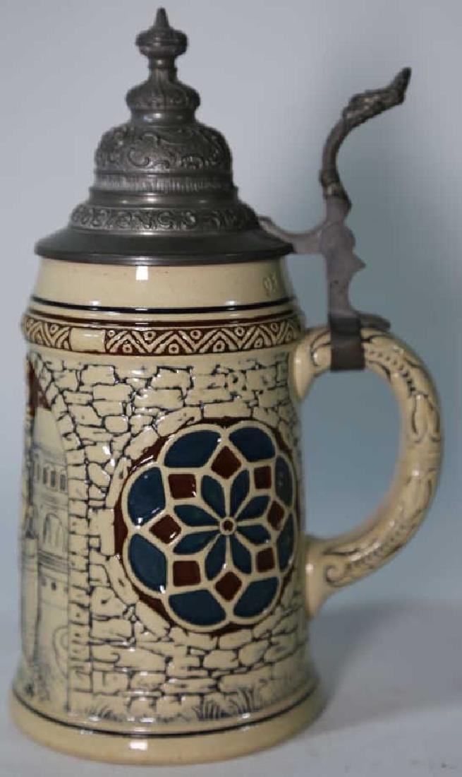 GERMAN POTTERY STEIN WITH RELIEF - 5