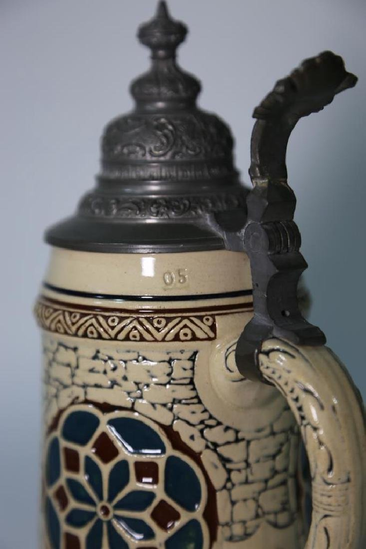 GERMAN POTTERY STEIN WITH RELIEF - 7