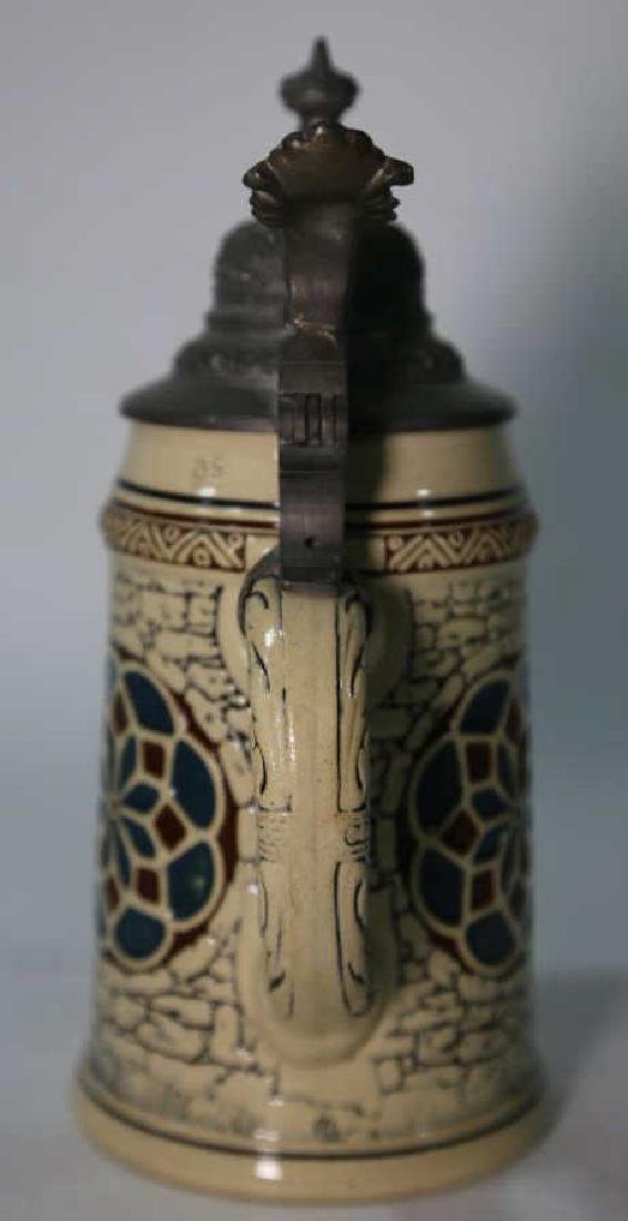 GERMAN POTTERY STEIN WITH RELIEF - 8