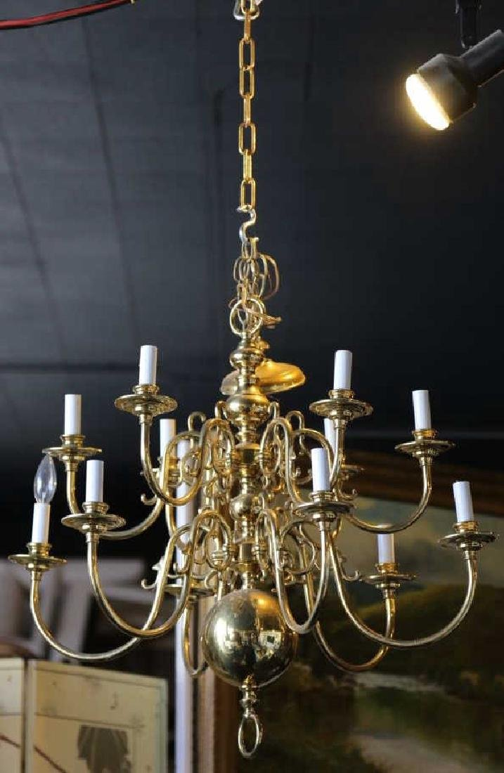 BRASS VINTAGE CHANDELIER, 12-LIGHTS