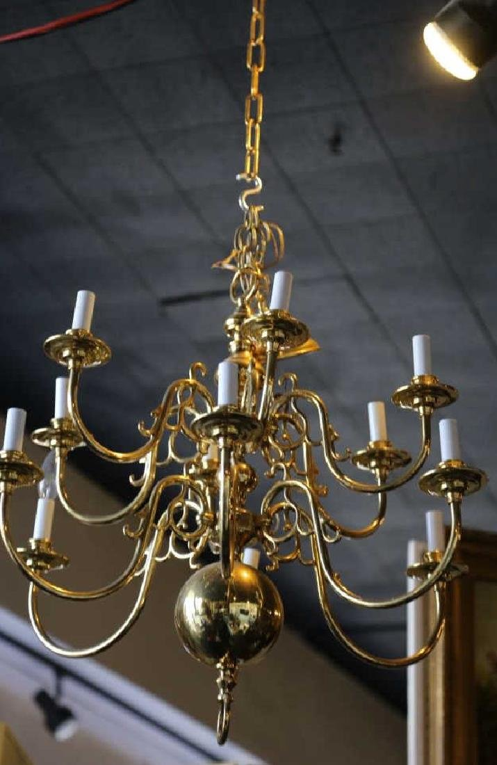 BRASS VINTAGE CHANDELIER, 12-LIGHTS - 2