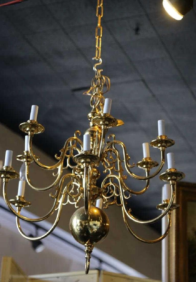 BRASS VINTAGE CHANDELIER, 12-LIGHTS - 3