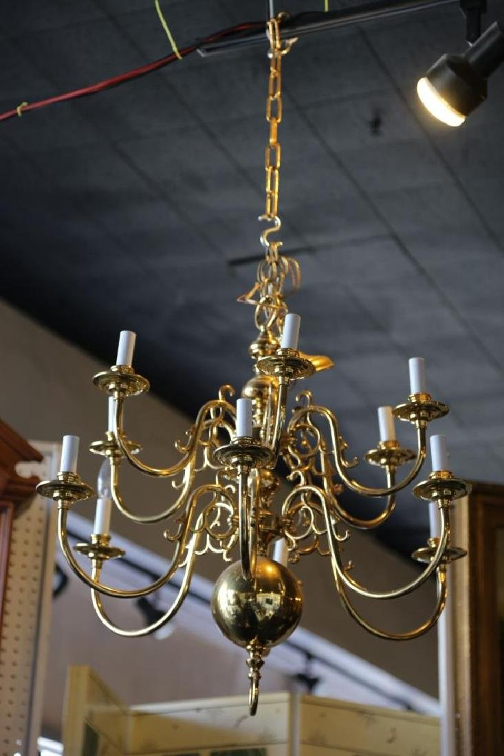 BRASS VINTAGE CHANDELIER, 12-LIGHTS - 4