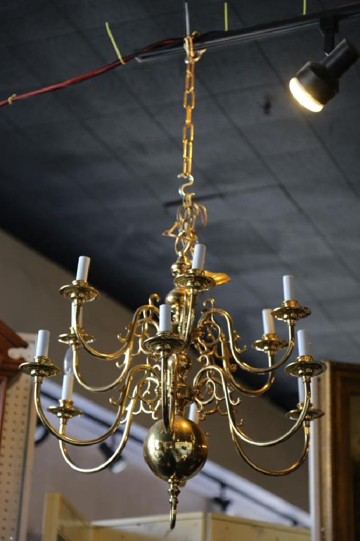 BRASS VINTAGE CHANDELIER, 12-LIGHTS - 5