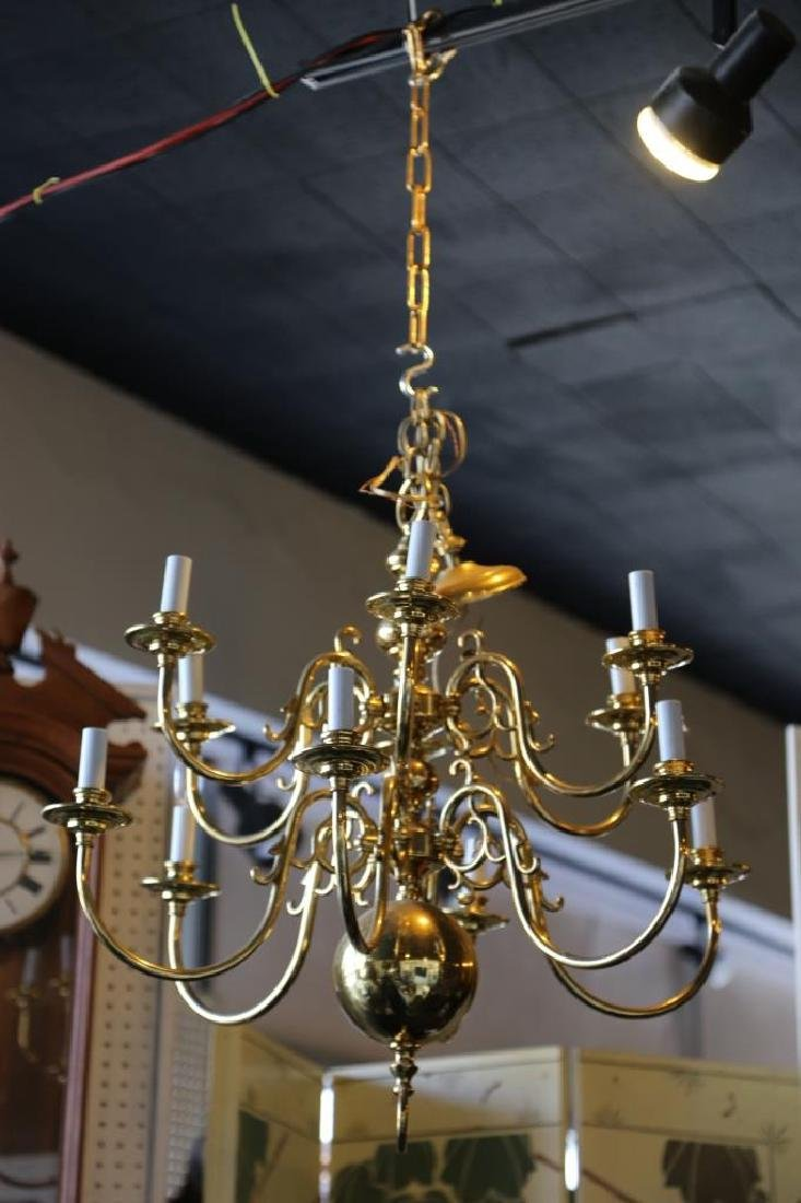 BRASS VINTAGE CHANDELIER, 12-LIGHTS - 7