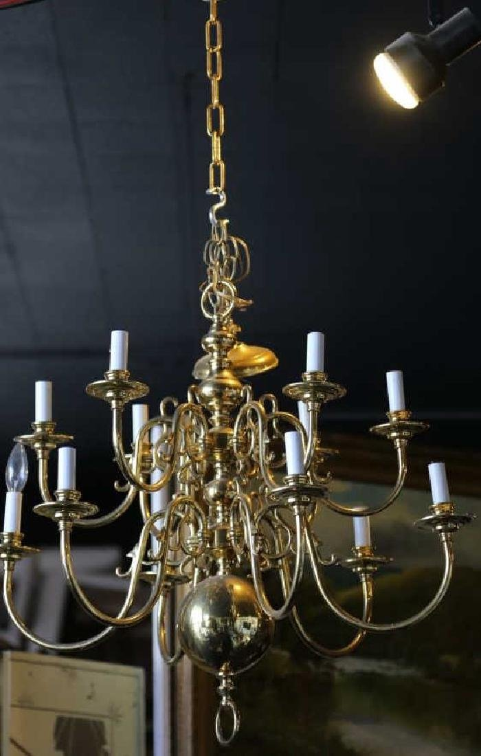 BRASS VINTAGE CHANDELIER, 12-LIGHTS - 8
