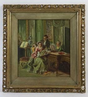 ANTIQUE INTERIOR PORTRAIT IN GILT FRAME