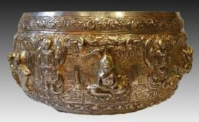 THAI ANTIQUE SILVER ALMS BOWL