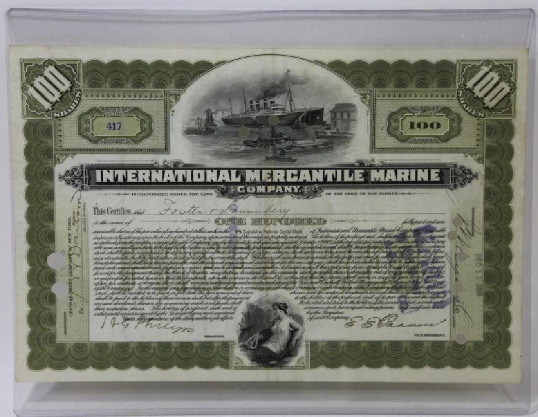 TITANIC INTERNATIONAL MERCANTILE MARINE STOCK CERT