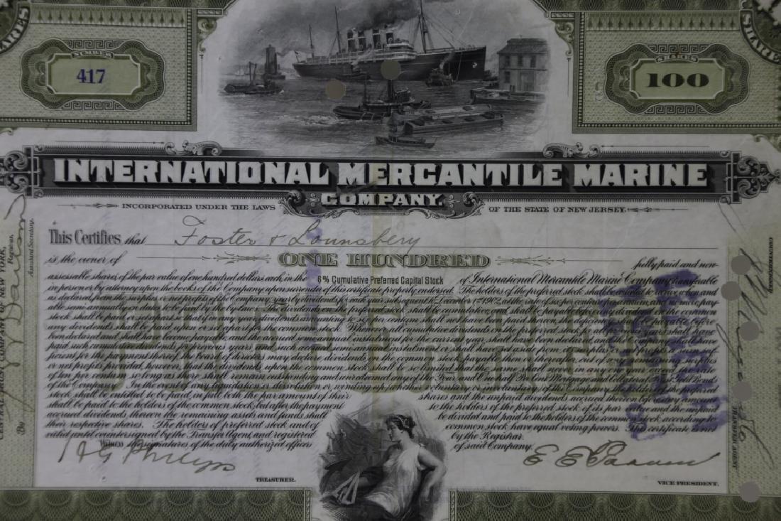 TITANIC INTERNATIONAL MERCANTILE MARINE STOCK CERT - 4