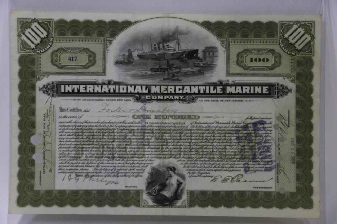 TITANIC INTERNATIONAL MERCANTILE MARINE STOCK CERT - 5