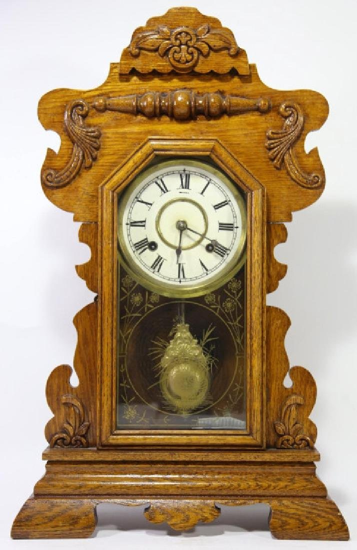 AMERICAN OAK TIME & CHIME EIGHT DAY KITCHEN CLOCK