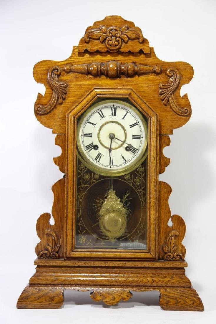 AMERICAN OAK TIME & CHIME EIGHT DAY KITCHEN CLOCK - 2