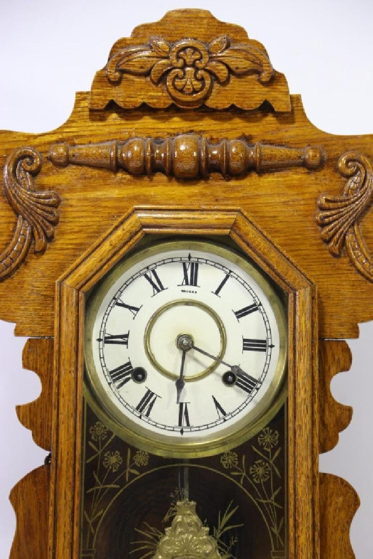 AMERICAN OAK TIME & CHIME EIGHT DAY KITCHEN CLOCK - 3