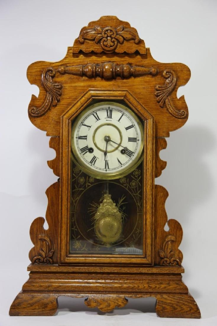 AMERICAN OAK TIME & CHIME EIGHT DAY KITCHEN CLOCK - 4