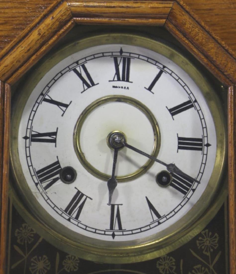 AMERICAN OAK TIME & CHIME EIGHT DAY KITCHEN CLOCK - 5