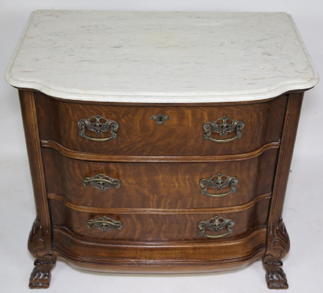 AMERICAN MARBLE TOP OAK BOW FRONT CHEST