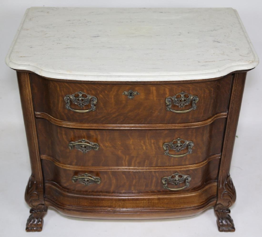 AMERICAN MARBLE TOP OAK BOW FRONT CHEST - 3