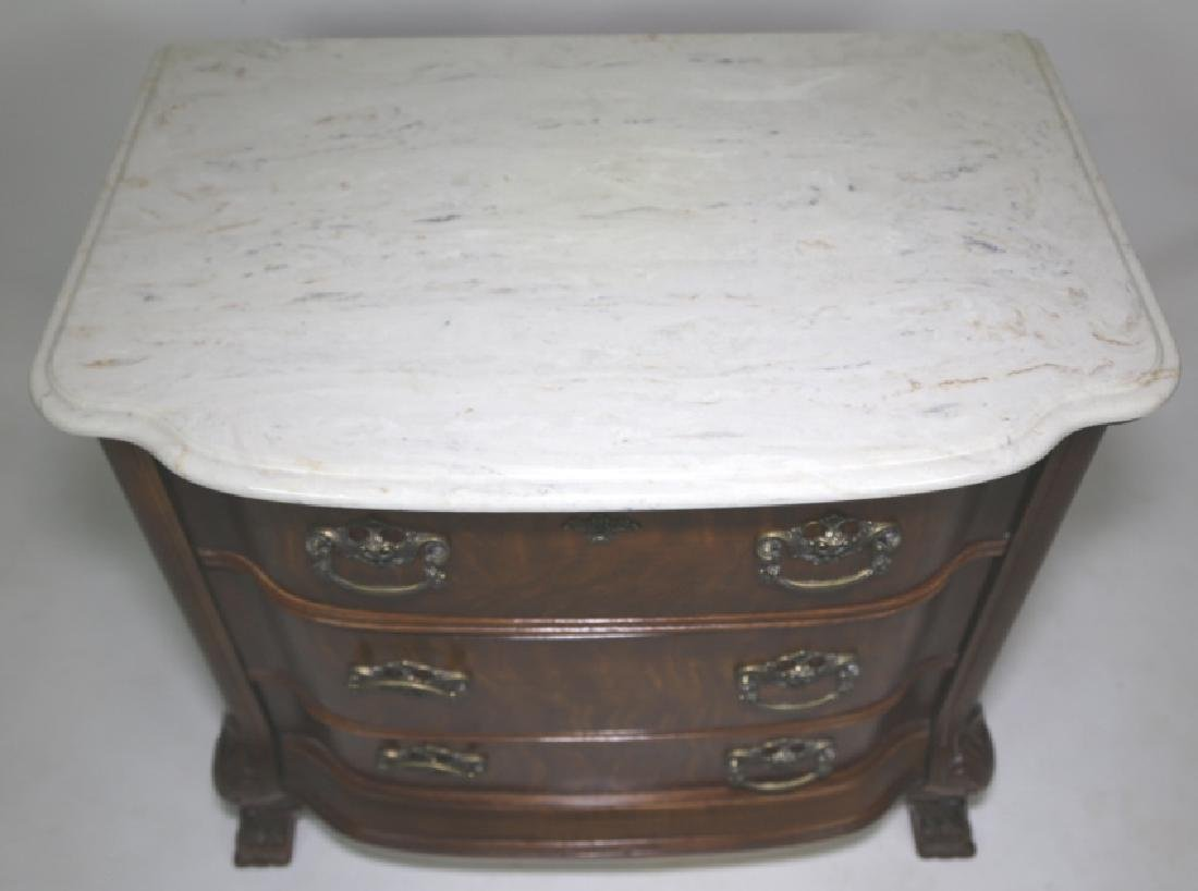 AMERICAN MARBLE TOP OAK BOW FRONT CHEST - 4