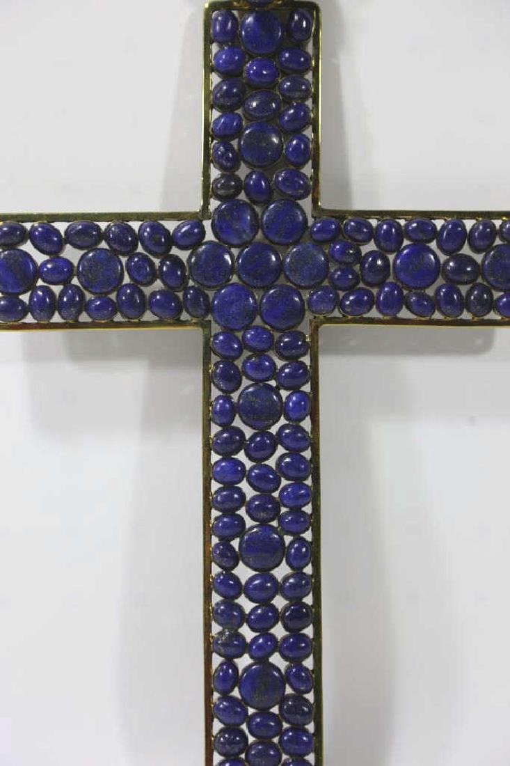 PALATIAL LAPAS STONE MOUNTED GOLD FRAMED CROSS - 2