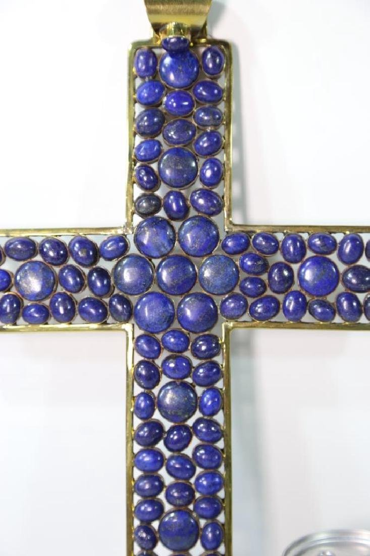 PALATIAL LAPAS STONE MOUNTED GOLD FRAMED CROSS - 7