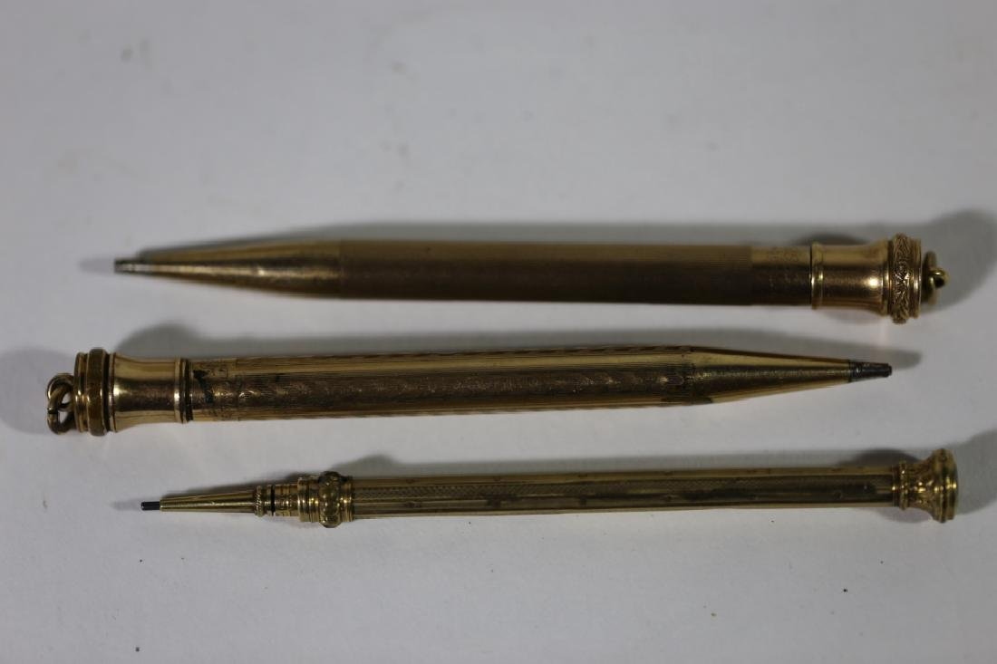 ANTIQUE GOLD PEN & PENCIL GROUPING - 5