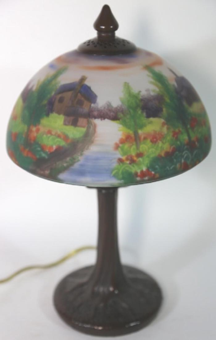 HAND PAINTED LANDSCAPE HANDEL STYLE VINTAGE LAMP