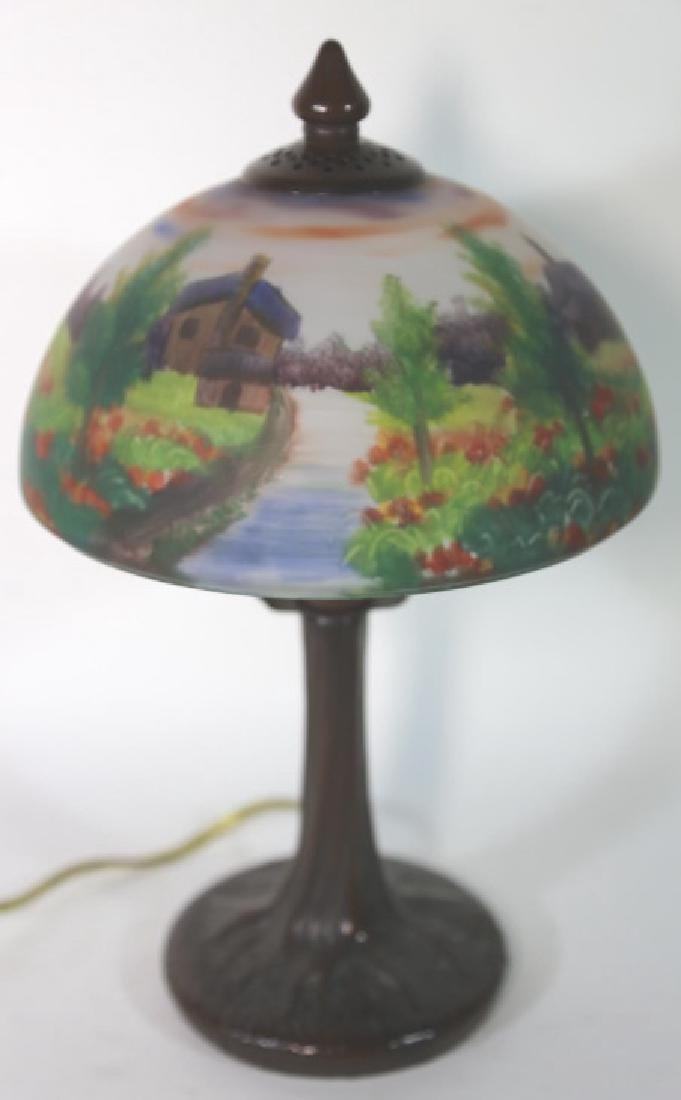 HAND PAINTED LANDSCAPE HANDEL STYLE VINTAGE LAMP - 2
