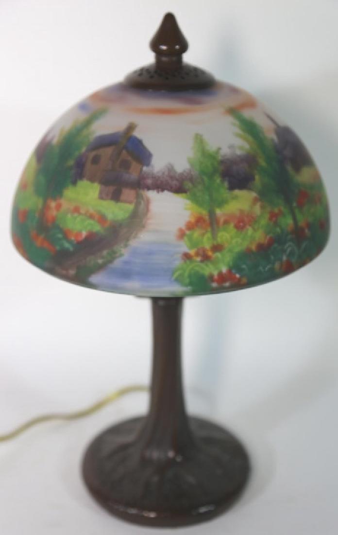 HAND PAINTED LANDSCAPE HANDEL STYLE VINTAGE LAMP - 4