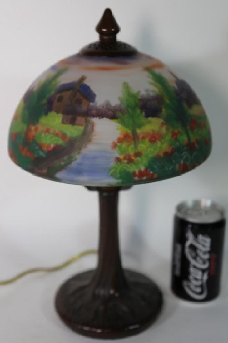 HAND PAINTED LANDSCAPE HANDEL STYLE VINTAGE LAMP - 5