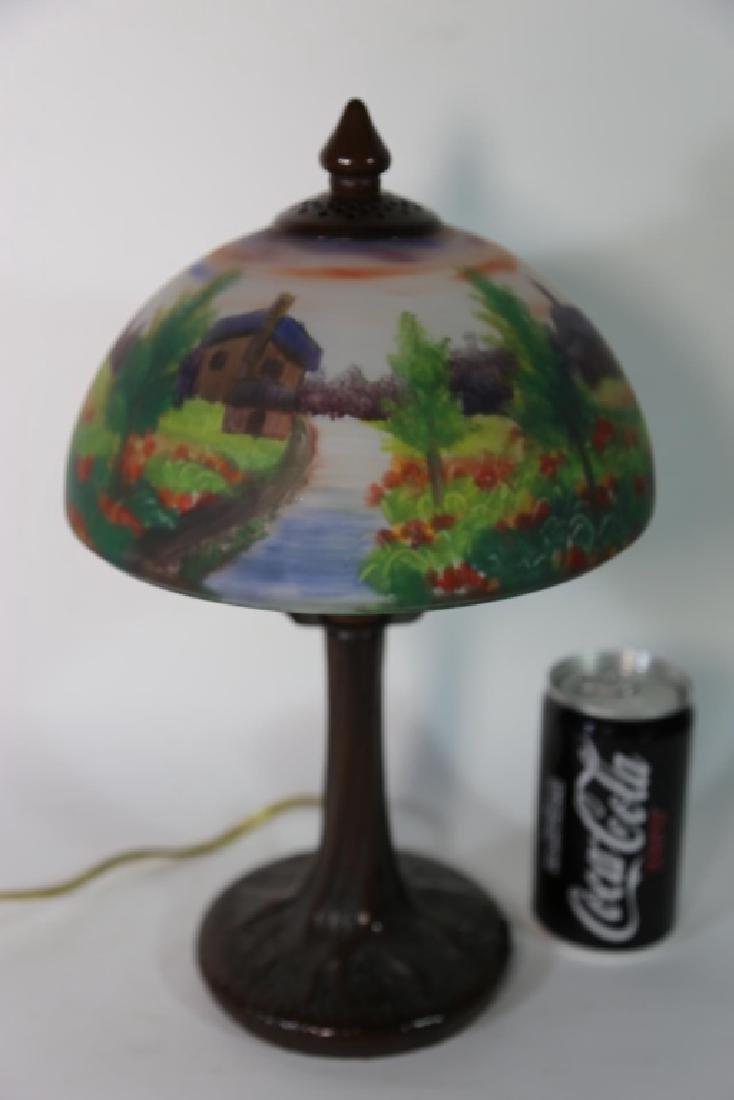 HAND PAINTED LANDSCAPE HANDEL STYLE VINTAGE LAMP - 6