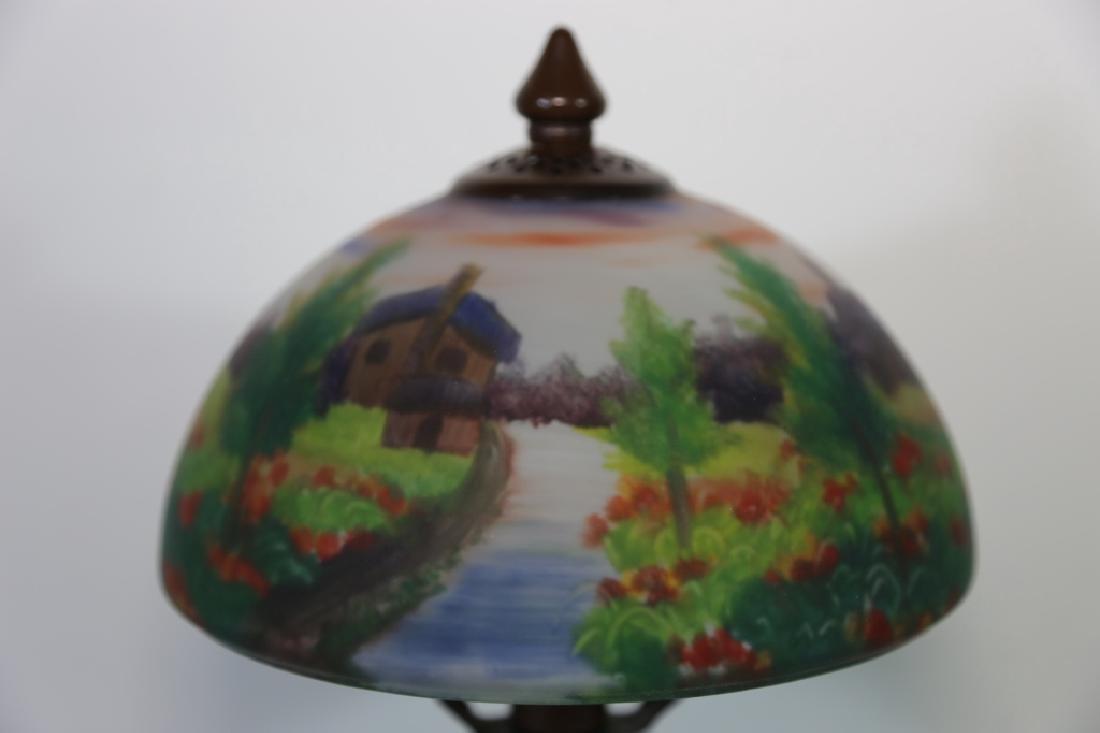 HAND PAINTED LANDSCAPE HANDEL STYLE VINTAGE LAMP - 7