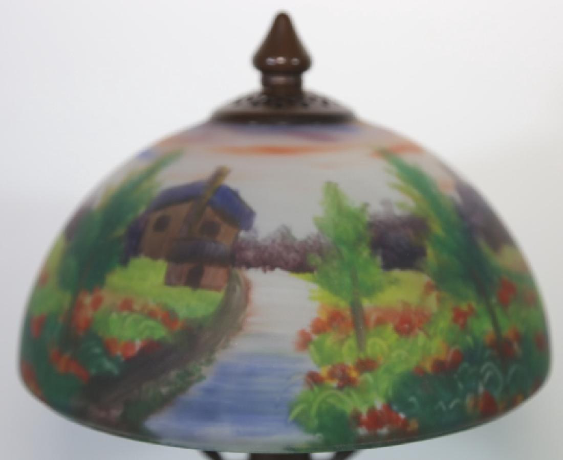 HAND PAINTED LANDSCAPE HANDEL STYLE VINTAGE LAMP - 8