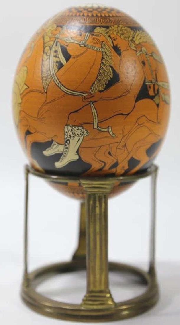 ATCLASSICAL DECORATED OSTRICH EGG ON STAND - 4