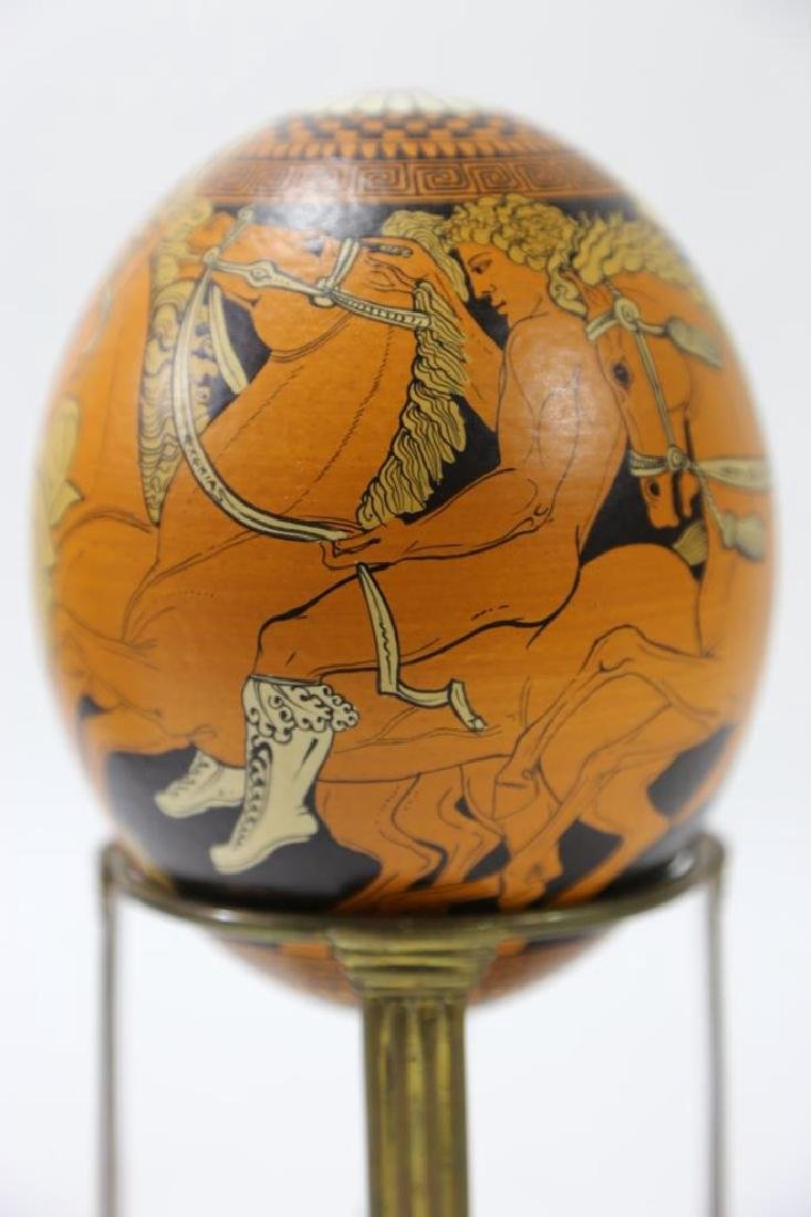 ATCLASSICAL DECORATED OSTRICH EGG ON STAND - 5