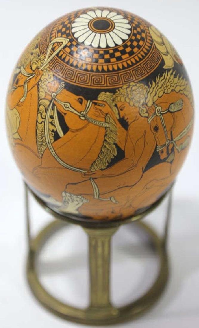 ATCLASSICAL DECORATED OSTRICH EGG ON STAND - 6